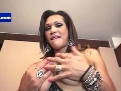 Busty latina shemale jerking before cumshot