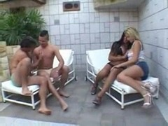 Group sex with a Tgirl ends with an outer cumshot