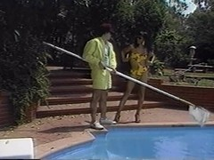 Vintage black shemale in outdoor threesome