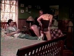 Threesome joy from two hot trannies & guy