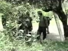 Soldiers fuck a shemale outdoor