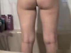 gal takes shower and shows soaked ass