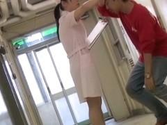 Man goes on knees to shark the nurse uniform