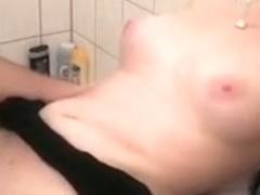 German Amateur Chubby Redhead fucking in bathroom - POV