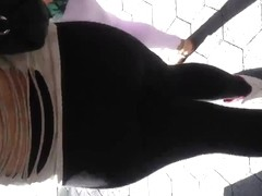 Fat Mexican ass in see thru leggings white thong