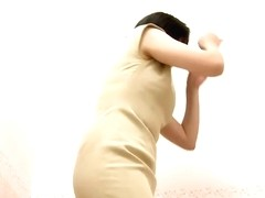 Fresh Asian in a lingerie shop changing room voyeur video