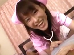 So sexy japanese brunette wife play a hot nurse role for sex fun with husband