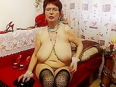 granny in red brassiere