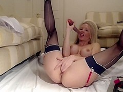 Silicone boobs and dirty talk on cam