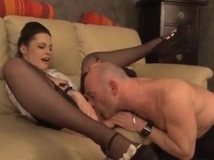 sexy girl convinces the assesor that she needs a new sofa