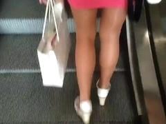 Public Shiny Pantyhose Miniskirt 2