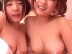 Exotic Japanese whore Hitomi Kitagawa, Megumi Shino, Rei Mizuna in Incredible Threesomes JAV scene