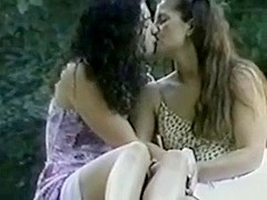 Lesbians Kissing Fingering in Public Park