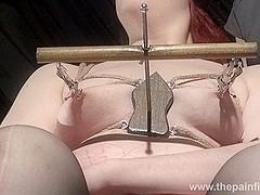 Extreme lesbian bdsm and hardcore lezdom tit tortures of chubby redhead ###slut