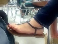 Friend sandal shoeplay in class