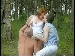 Hairy aged creampied in a outdoor gangbang