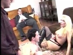 Blonde slut in gangbang