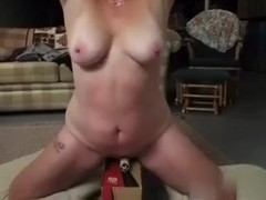 Sub wife tied in basement, part 3, riding a vibe.