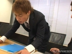 Mayu Kamiya Asian lady in office suit enjoys rear fuck