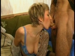 Young guy fucking the aged pussy of a blonde lady