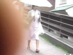 Oriental nurse gets really surprised when she encounters some sharking lad