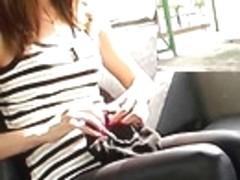 Cute brunette hair in very taut panties