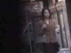 Sexy business lady with no panties sharked on the street