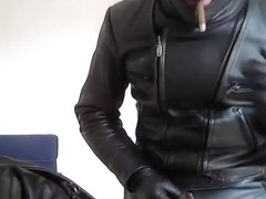 biker leather and rubber poppers smoke
