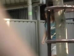Great shirt sharking video of really pretty brown-haired hoe