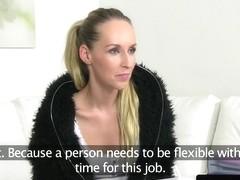 Lesbian casting agent strapon fucks amateur