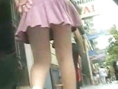 Gorgeous blonde has a hidden cam up her skirt
