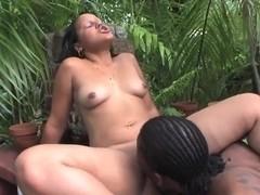 Big ass Latina chick fucks with ebony male