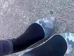 Camo flats and black socks