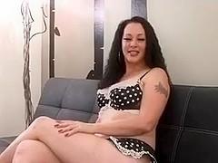 Plump woman sucks a lad off