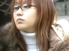 Amiable nerdy Japanese cutie gets nicely intercepted by some sharking dude
