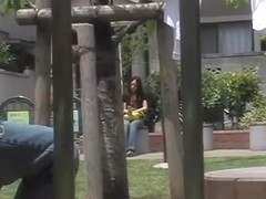 Boob sharking while she was sitting on a bench and texting