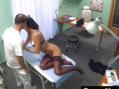 Stockinged european pussyfucked by lucky doctor