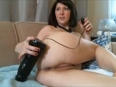 Webcam Brunette cums hard with 2 huge dildos