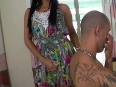 Latina tranny Beatricy Velmont gets her ass fucked and receives cum