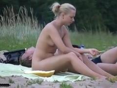 Nude beach - little tits blond college girl cutie spread wide