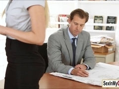 Blonde ###ary Vanessa Cage gives her boss a blowjob