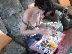 Kinky hottie wearing stockings in down blouse video