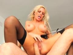 Incredible pornstars Sara Luvv, Nina Elle, James Deen in Horny Blonde, Stockings adult video