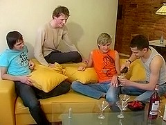Pretty skinny twinks in a hot gay group sex action