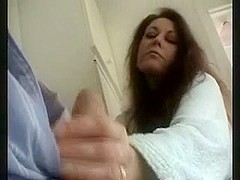 Older Housewife Teasing His Schlong