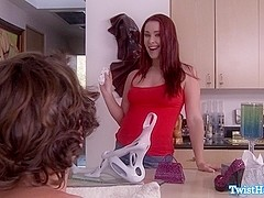 Redhead beauty gagging before doggystyle