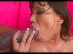 Big Tit Whore Fucks 2 MASSIVE Black Cocks!!