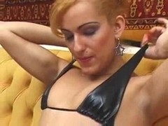 Tranny with a dick and girlie with a strap-on fuck a dude