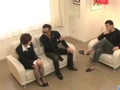 Office threesome along Akina Hara
