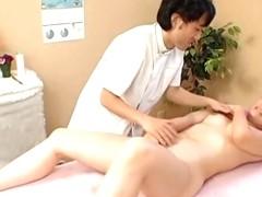 Slutty nude Japanese girl fucks her horny masseur.s dick